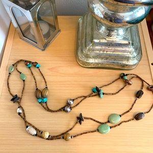 Silpada silver, howlite, turquoise boho necklace